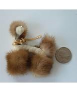 Vintage Afghan Poodle Dog Brooch Pin Velvet Chenille Genuine Mink Fur FA... - $26.73