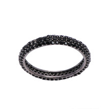 Stackable 925 Silver Black Spinel Stone Full Eternity Stacking Wedding B... - $13.24