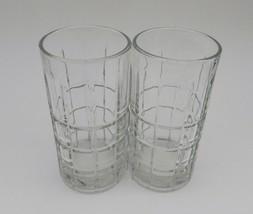 Anchor Hocking Glass Clear Crystal Tartan Plaid Water Tea Tumbler 16 Oun... - $12.75