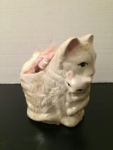 NEW Ceramic Cat Rasberry Item #66612 White Kitten Soap Bath Gift Set - $29.69