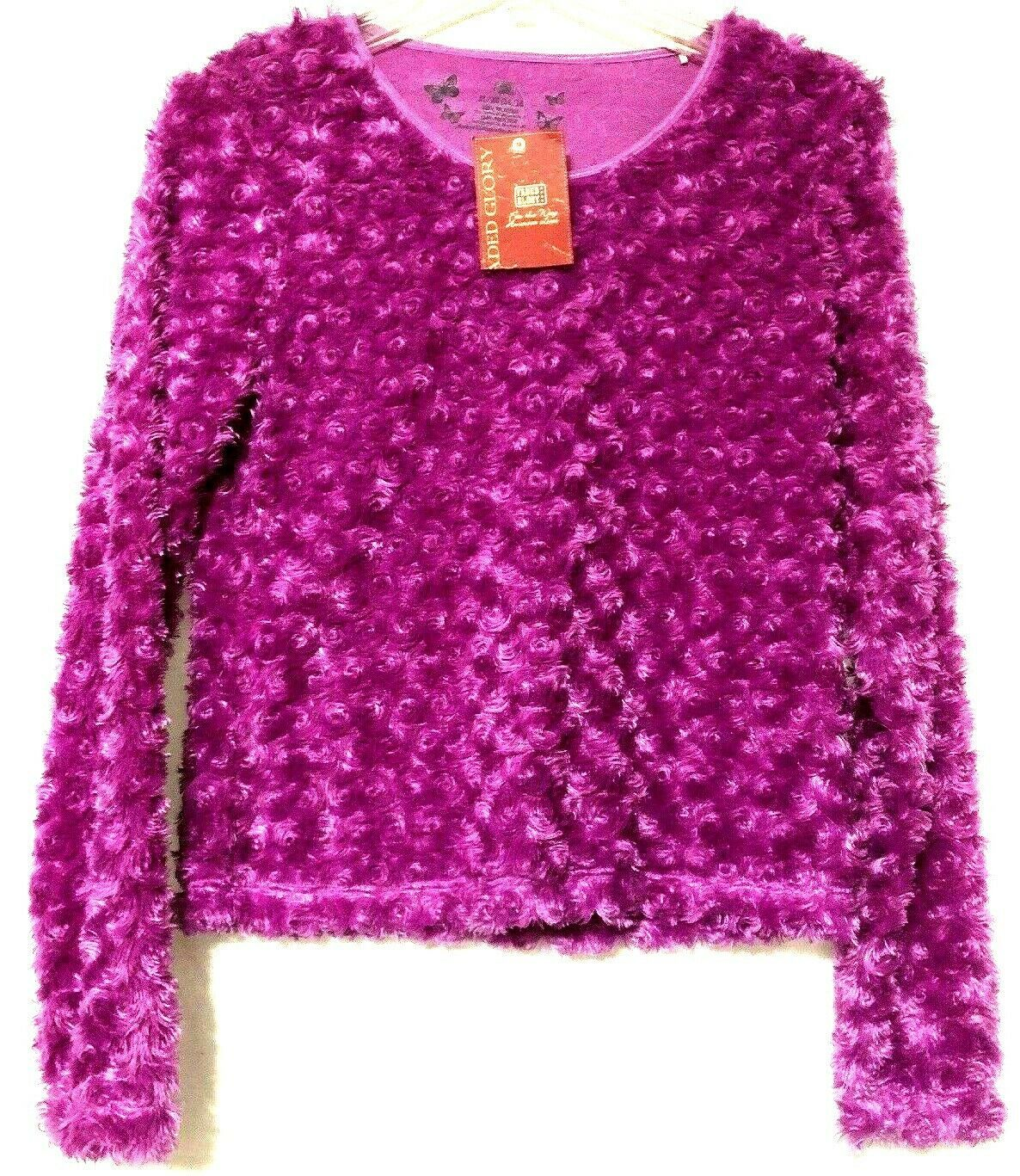 Primary image for Faded Glory Girls Youth Orchard Purple Furry Sweater Size XL 14/16 New