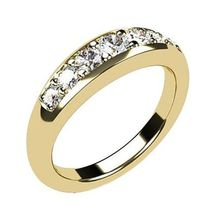 14K Gold Plated 925 Silver Round Cut White CZ Impressive Band Ring For Women's - $55.99
