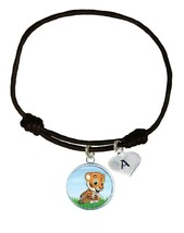 Custom Baby Tiger Cub Black Unisex Bracelet Jewelry Gift Choose Initial Charm - $13.94
