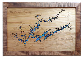 Wood Laser Cut Map of Norris Lake, TN Topographical Engraved Map - $124.99+