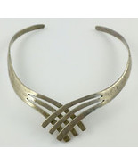 TAXCO MEXICO Modernist Criss Cross Sterling Silver Vintage Collar NECKLACE - $175.00