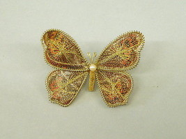 """Vintage Butterfly Wing Brooch Costume Jewelry Pin hand made 2.25"""" w oran... - $14.85"""