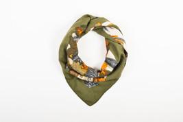 "Hermes Olive Green Orange Brown Cashmere Wool Sword Foliage ""Au Plus Dru... - $390.00"