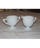 No Makers Mark White Sugar and Creamer Set Floral Embossed Milk Glass ! - $39.59