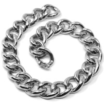 18K WHITE GOLD BRACELET BIG ONDULATE ROUNDED GOURMETTE CUBAN CURB LINKS 9.5 mm image 1