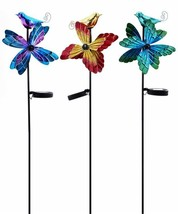 Set of 3 Solar Hummingbird & Flower Spinner Garden Stakes Double Pronged NEW