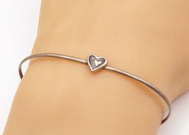 925 Sterling Silver - Vintage Petite Black Onyx Love Heart Cuff Bracelet... - $23.38