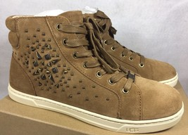 UGG Australia GRADIE DECO STUDS LEATHER Chestnut HIGH TOP SNEAKERS 1013911 - $69.99