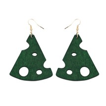 1 Pair Woman Wooden Earrings Handmade Biscuit Wooden Fashion Earrings Platign Go - $25.99