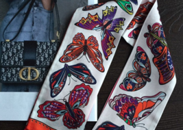Pure silk New bandeau Twilly Scarf : butterfly collections 120CM X 8CM - $49.13
