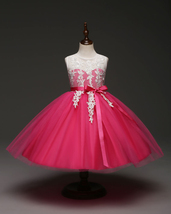 Fuchsia Tulle Party Gowns ,Formal Dress,Flower Girl Dress Short First Co... - £24.87 GBP