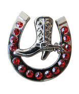 Set Of 16 Western Screw Back Concho Red Horseshoe Boots Crystals U-TY16 - $48.99
