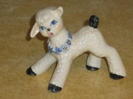 Miniature Lamb Sheep Figurine Daisy Chain Collar Vintage Pottery 3 inch ... - $18.80