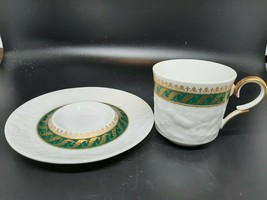 Krauhtheim Selb Marillo demitasse cup and saucer green and gold trim EXCELLENT - $35.00