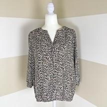 a4ec12be0c6dc8 Dana Buchman Womens Sz L Animal Print Tunic Blouse 3/4 Sleeve Split  Neckline Top