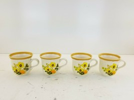 Lot of 4 Mikasa Garden Club Fresh FloralCoffee Cups Made in Japan Yellow... - $30.24