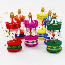 Mini Wooden Carousel Christmas Decor Xmas Tree Decoration Kids Birthday Gift Toy - $14.84