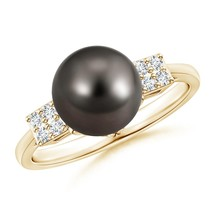 9mm Cultured Tahitian Black Pearl Diamond Cluster Ring in Silver or Gold - $581.24+