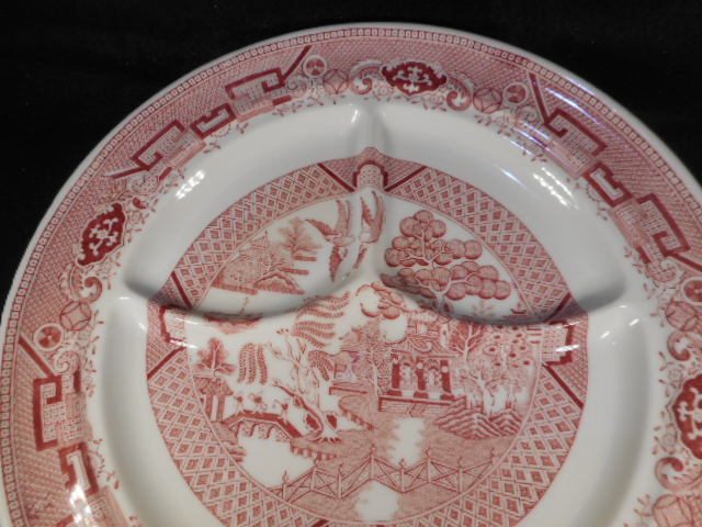 """Vintage Pink Jackson China  USA 10 1/4""""  Pink White Transfer ware Grill Plate"""