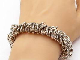925 Sterling Silver - Vintage Chunky Loop Clustered Link Chain Bracelet ... - $205.79