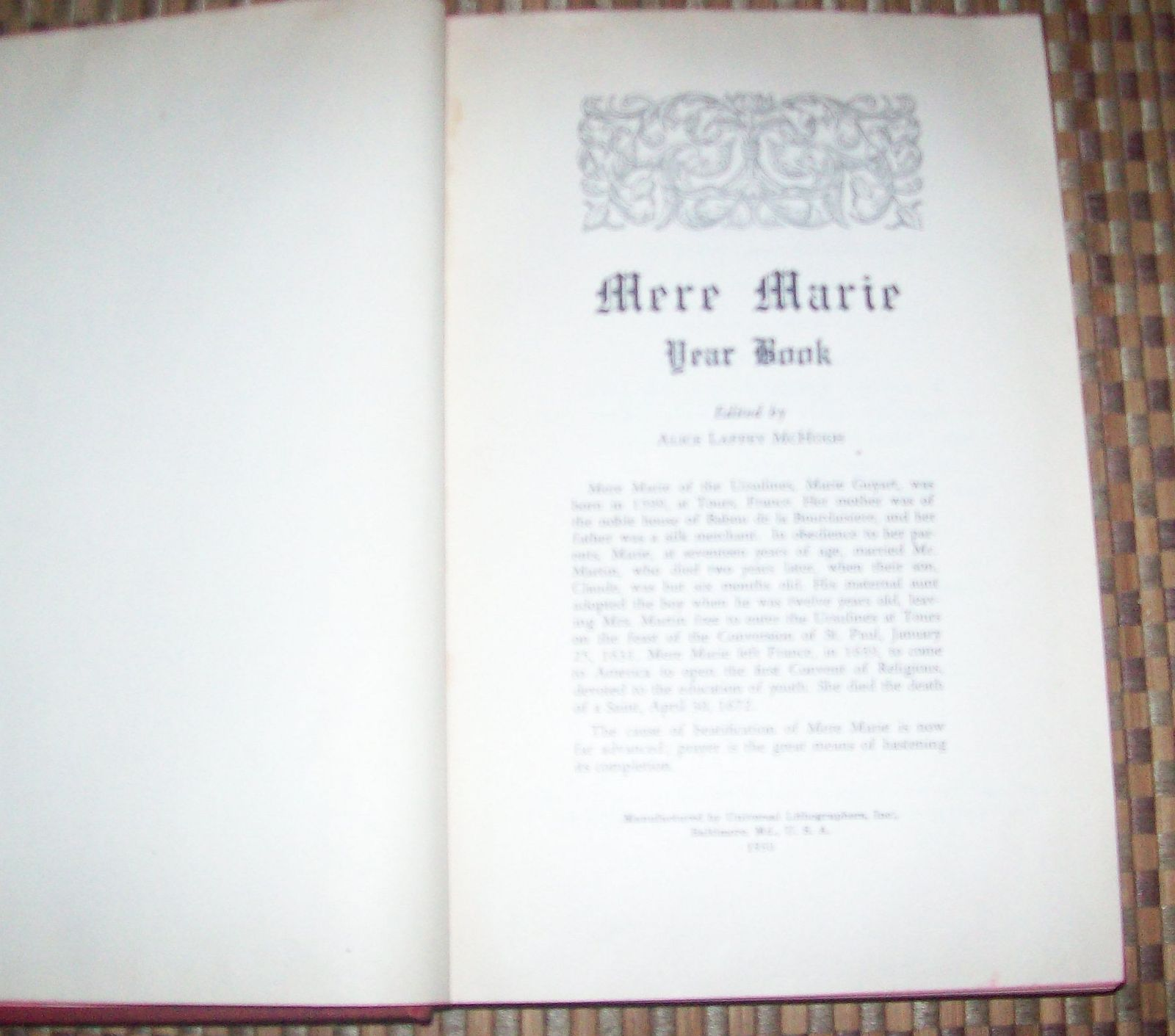 Mere Marie Edited by Alice Laffery McHugh 1950 HB Year Book