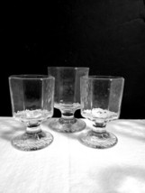 """3 Piece Lot LIbbey FACETS Clear - 1 - 4 5/8"""" Rocks & 2 - 4"""" Juice Glasses Footed - $17.82"""