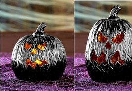 Scary Black Face Lighted Pumpkin Indoor Décor Ceramic Charred Halloween ... - $29.88
