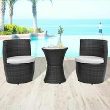 vidaXL Garden Furniture Set 5 Piece Poly Rattan Wicker Black Outdoor Dining - $203.99