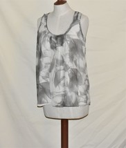 BANANA REPUBLIC Blouse Top S Silk Sleeveless Lined Light Gray Geo Print ... - $15.00