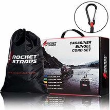 ROCKET STRAPS | 24PC Carabiner Bungee Cords with Hooks | Bungee Cord Assortment