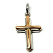 Anhänger Überqueren aus Weißgold und Pink 18K 750 Kruzifix Stilisiert Ma... - $301.54