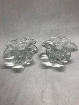 PAIR  MIKASA FLOWER CLEAR GLASS CRYSTAL CANDLE HOLDER AUSTRIA  VINTAGE - $28.95