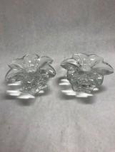 PAIR  MIKASA FLOWER CLEAR GLASS CRYSTAL CANDLE HOLDER AUSTRIA  VINTAGE - $28.95