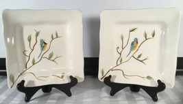 2 - Pier 1 One ROBIN Handpainted Earthenware Square Salad Plates Scalloped Edges - $39.55