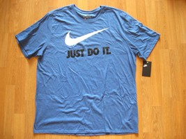 New Nike Tee Athletic Mens Blue/Black Just Do It T-Shirt AA2097-456 Size Xl - $19.99