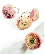 4 Martha Stewart English Garden Ranunculus Napkin Ring Holders NWT FREE ... - $34.64