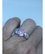 Vintage Pink CZ Crystal Deco Band Ring 925 Sterling Silver Size 7 - $94.05
