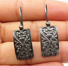 SILPADA 925 Silver - Vintage Floral Vine Detail Curved Dangle Earrings - E4475 - $25.34