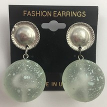 Vintage Dangle Clip On Earrings Lucite Style Frosted Plastic Silver Tone... - $12.58