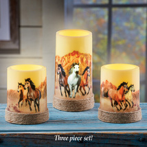 Majestic Horses LED Flameless Candle Set, Wild Galloping Horses Home Dé... - $17.43