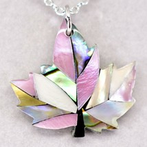 Storrs Wild Pearle Blush Abalone Shell Maple Leaf Pendant Silver Tone Necklace image 2