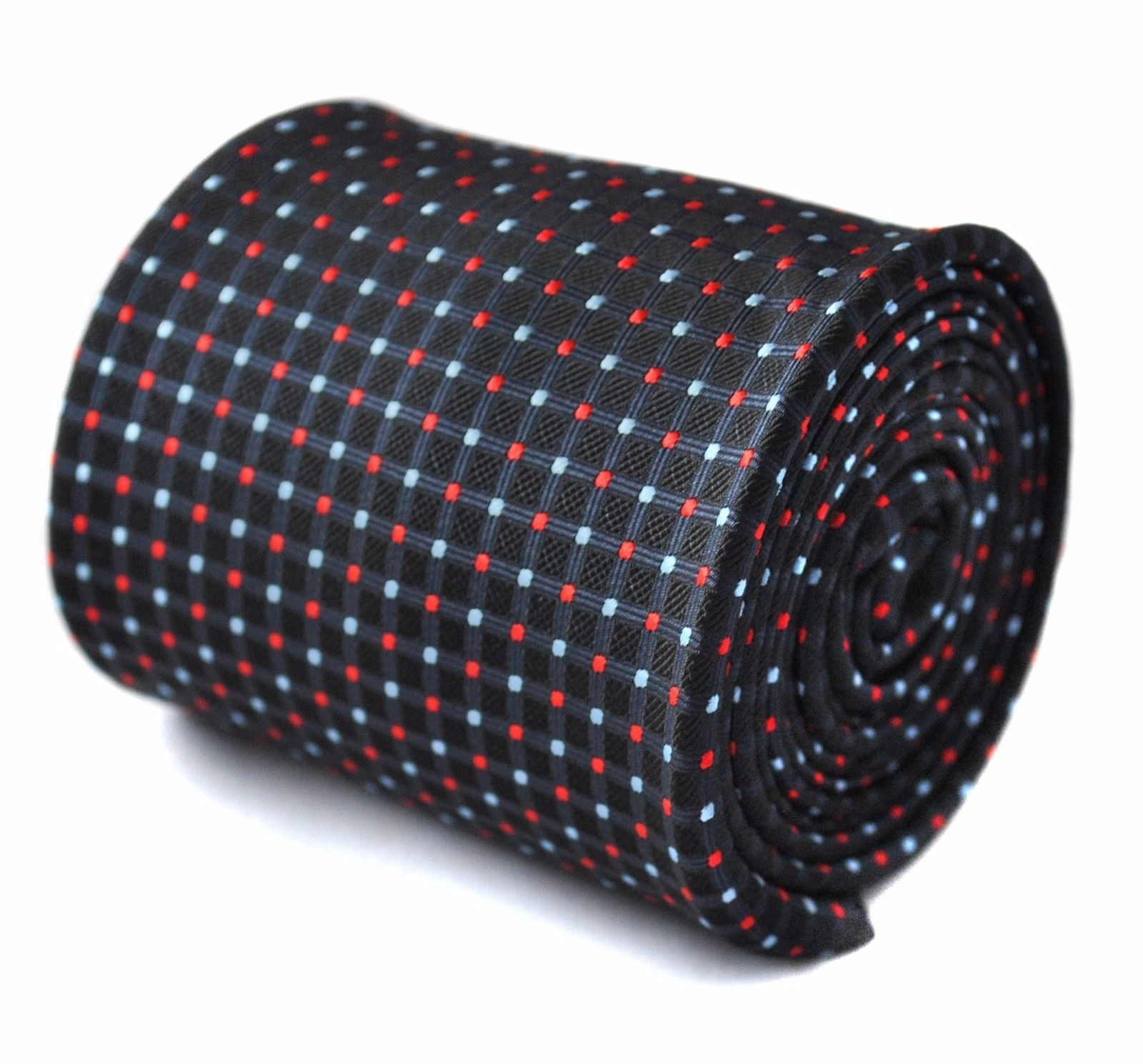 Frederick Thomas navy tie with red and light blue pin spots FT1530