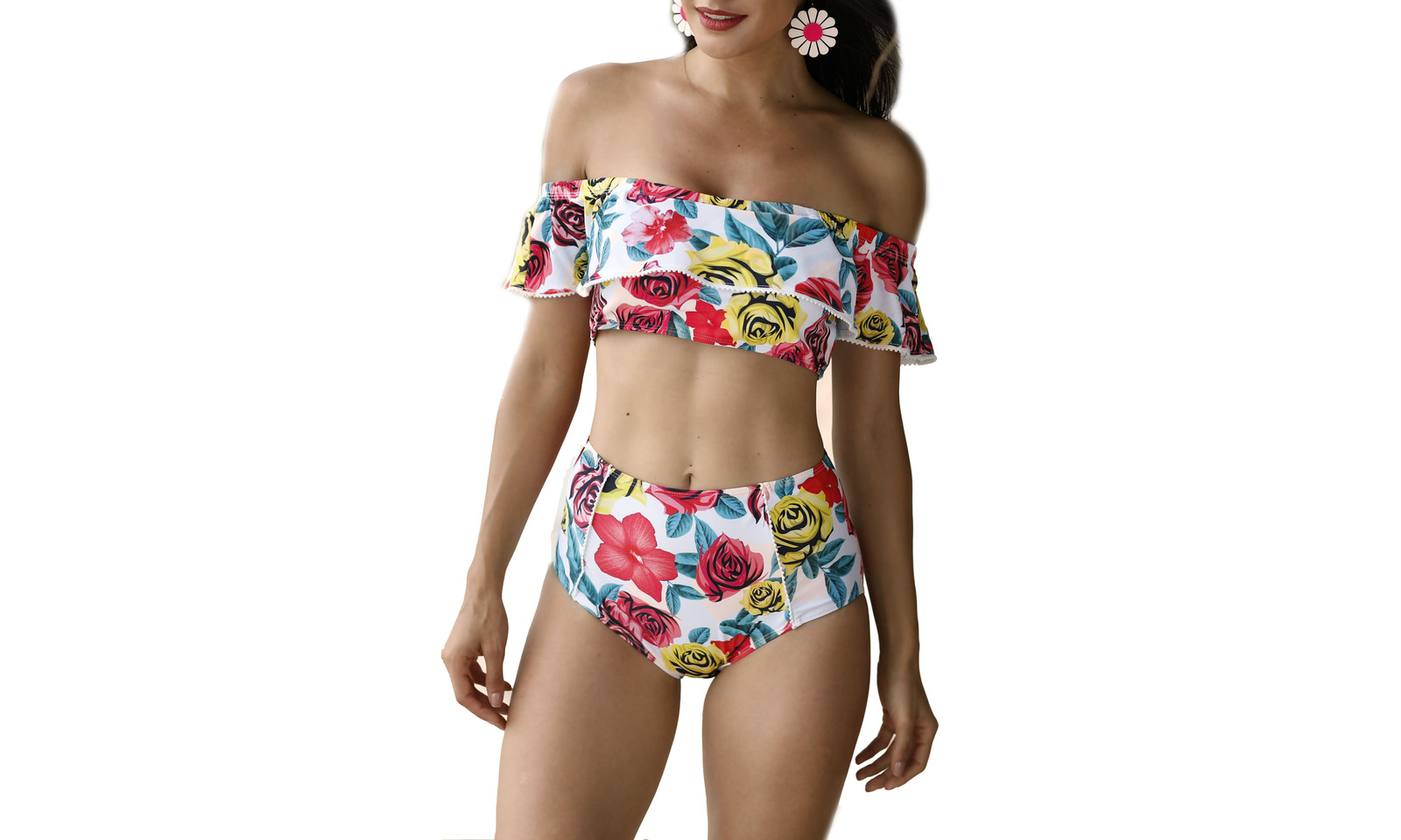 Women's Off Shoulder Floral Printed Ruffle Two Pieces Bikini Set