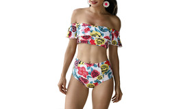 Women's Off Shoulder Floral Printed Ruffle Two Pieces Bikini Set - $20.99