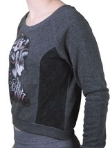 Sullen Angels Women's Charcoal SA Blackout Tattoo Art Fleece Crop Sweater NWT image 2