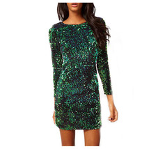 Ar spring autumn women slim sheath dresses v neck sequined dress female sexy club party thumb200